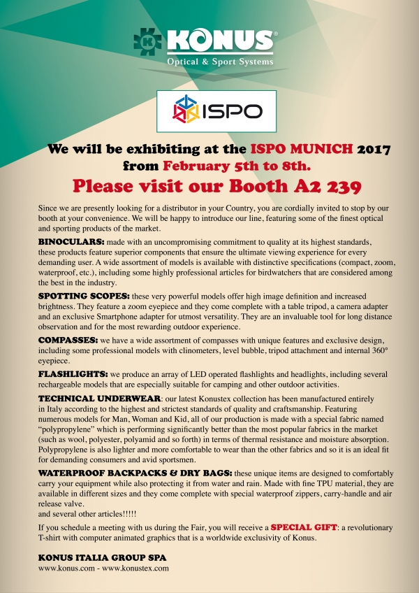 We will be exhibiting at the ISPO MUNICH 2017