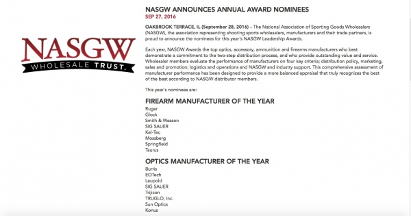NASGW ANNOUNCES ANNUAL AWARD NOMINEES